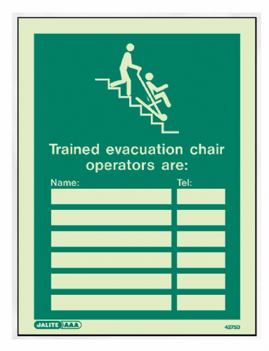 (4275D) Jalite Evacuation Chair Operator Sign